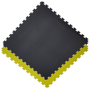 Gym floor mats / 100 x 100 x 2.0 cm / Jigsaw Interlocking MMA Matts / Yellow-Black
